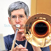 Santa Fe Community Orchestra member Dorothy Kincaid plays the Trombone during rehearsal.<br /> Clyde Mueller/The New Mexican