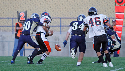 The third quarter of the Gallup vs Santa Fe High School football game at Santa Fe High School on Sep. 16, 2011.   Photo by Luis Sánchez Saturno/The New Mexican