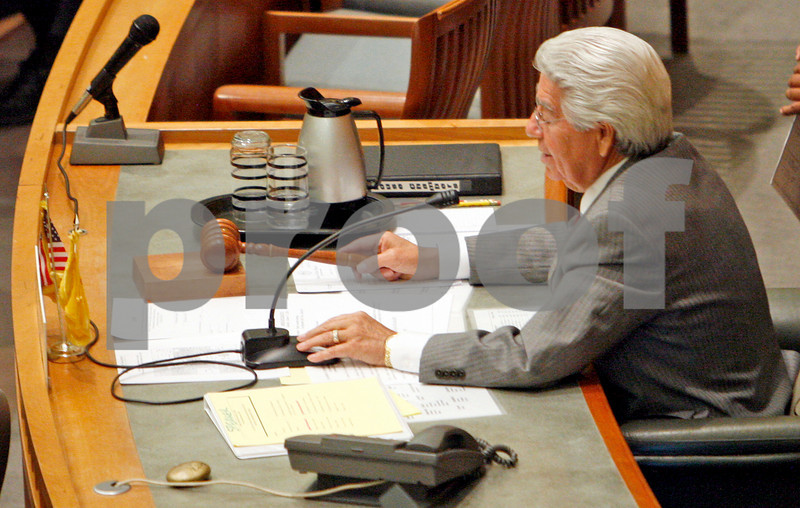 Speaker of the House of Representatives, Ben Lujan, approves a recess on the house floor on Oct 17, 2009, for the representatives to meet again on Sunday at 1:30 p.m.        (Luis Sanchez Saturno/The New Mexican)