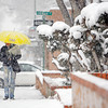 Mary Anne Redding, from Santa Fe, walks up Palace Ave. in the snow on Jan. 28, 2010.           Luis Sanchez Saturno/ The New Mexican.