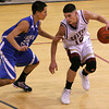 Santa Fe Indian School's Stevan Rodriquez keeps the ball away from St. Michael's David Gonzales, during the second quarter of their game at Francis L. Abeyta Memorial Gymnasium on Friday, Feb. 12, 2010.  Jane Phillips/The New Mexican