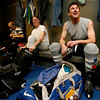 From left, Pat Quinn ,founder, Jim Norton and charter member Brian Drypolcher,cq, get ready to celebrate their 10 year anniversary playing  ice hockey on Sunday, February 28, 2010.  The average age of the player is around 50 years old.  The oldest player is 70.<br /> Photos by Jane Phillips/The New Mexican