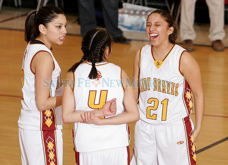 Santa Fe Indian School Braves play Newcomb High School Lady Skyhawks at Santa Fe Indian School on Friday, March 5, 2010.  Braves were up 20 points the beginning of the fourth quarter.<br /> Photos by Jane Phillips/The New Mexican