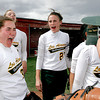 Los Alamos, Stephanie Abney, #33 and Shelby Courtwright, #27 react with joy after they won their game against Bernalillo High School 15-12 on Saturday, April 24, 2010.   This win will put Los Alamos in district.<br /> Photos by Jane Phillips/The New Mexican