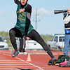 Linda Esquivel, of West Las Vegas, wins the triple jump at the Distric 2AAA track meet, held at Santa Fe Indian School in Santa Fe, N.M., on May 1, 2010.<br /> Natalie Guillén/The New Mexican