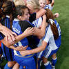 St. Michael's girls soccer team celebrates after beating Sandia Prep High School to win the state championship title on Nov. 7, 2009. The Lady Horsemen won in double overtime, 3-2.<br />  Natalie GuillŽn/The New Mexican