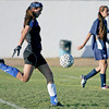 St. Mike's goalie, Sally Feldewert, kicks the ball during the second half of their game against Santa Fe Prep on OCt 13. 2009. Feldewert, who has recovered from an early season concussion and is leading Class A-AAA in goals allowed per game.           (Luis Sanchez Saturno/The New Mexican)