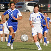 (9) Marissa Martinez of Bosque School and (6) Kate Ayala of St. Michael's, fight for the ball in the second half of a girls soccer game in Santa Fe, N.M. on Oct. 15, 2009.<br /> Natalie Guillen/The New Mexican