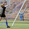 St. Mike's goalie, Sally Feldewert, talks to her defense during the second half of their game against Santa Fe Prep on OCt 13. 2009. Feldewert, who has recovered from an early season concussion and is leading Class A-AAA in goals allowed per game.           (Luis Sanchez Saturno/The New Mexican)
