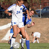 (24) Liana Coppola of St. Michael's keeps the ball from (11) Lilias Gordan of Bosque School during the second half of a girls soccer game in Santa Fe, N.M. on Oct. 15, 2009.<br /> Natalie Guillen/The New Mexican