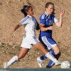 (3) Derrian Medina of St. Michael's, reaches to take the ball away from (20) Annie Koensgen of Bosque School during a girls soccer game in Santa Fe, N.M. on Oct. 15, 2009.<br /> Natalie Guillen/The New Mexican