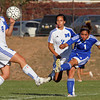 (L-R) (6) Kate Ayala, (2) Alicia DeLeon-Dowd, of St. Mikes and (1) Ashley Gallegos of Bosque School during a girls soccer game at St. Michael's in Santa Fe, N.M. on Oct. 15, 2009.<br /> Natalie Guillen/The New Mexican