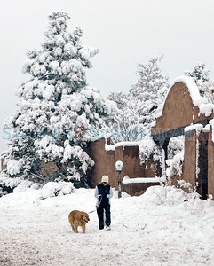 Taking a dog for a walk through 6 inches of new snow along Old Pecos Trail in Santa Fe New Mexico January 19, 2010, Tuesday Morning.  Clyde Mueller/New Mexican