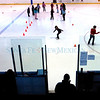 Parents watch from the outside of the rink as their children participate in Learn-to-Skate classes at the Genoveva Chavez Community Center Ice Arena Saturday morning.<br /> <br /> (Rebecca Craig/ The New Mexican)