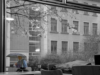 2004-11-09_03356 Dozent auf dem Weg ins trockene Seminargebäude der Uni Leipzig