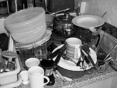 2005-07-23_05737 Nicht nur bei mir stapelt sich das Geschirr bis zum geht-nicht-mehr.