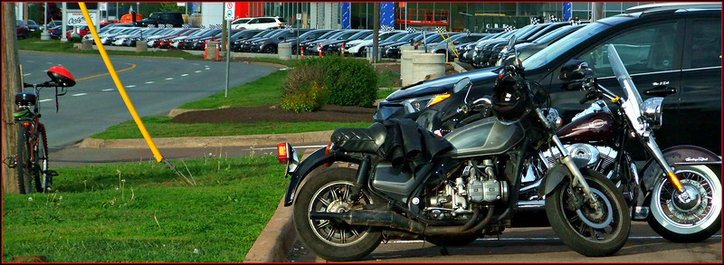 Get your motor running,, head out on the highway,,,,, went for an evening walk . Got some nice shots but this one made me laugh,,in a Tim Hortons lot. Three bikers inside for coffee, I guess!  19/06/22