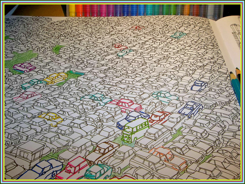 A 'BEAT THE HEAT ' PROJECT ,,,COLOR PAGE FROM FANTASTIC CITIES   A TORONTO ARTIST DID THE BOOK ,,,THERE IS A PAGE OF HAMILTON,,,,, YAY  THIS ONE IS FROM MEXICO HE CALLS IT TRAFFIC JAM!  7/19/18
