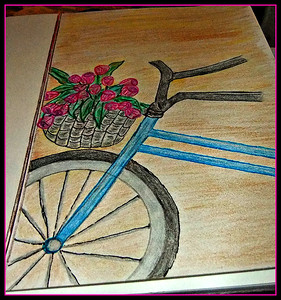 SPRING RIDE  20/01/17  my new hobby thanks for the interest,,,I'm the artist with my pencil  crayons and drawn with a pencil,,