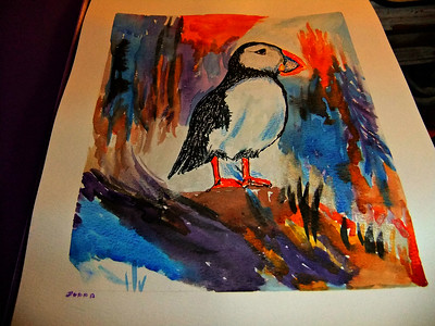 OH,,I LOVE PUFFINS,,,, DONE FOR SOMEONE I LIKE A LOT,,,, 10/03/17