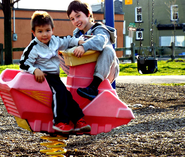 BRODIE AND COUSIN  COLTON ,AT THE PARK WITH ME. SUNSHINE BUT STILL COLD.   03/05/16