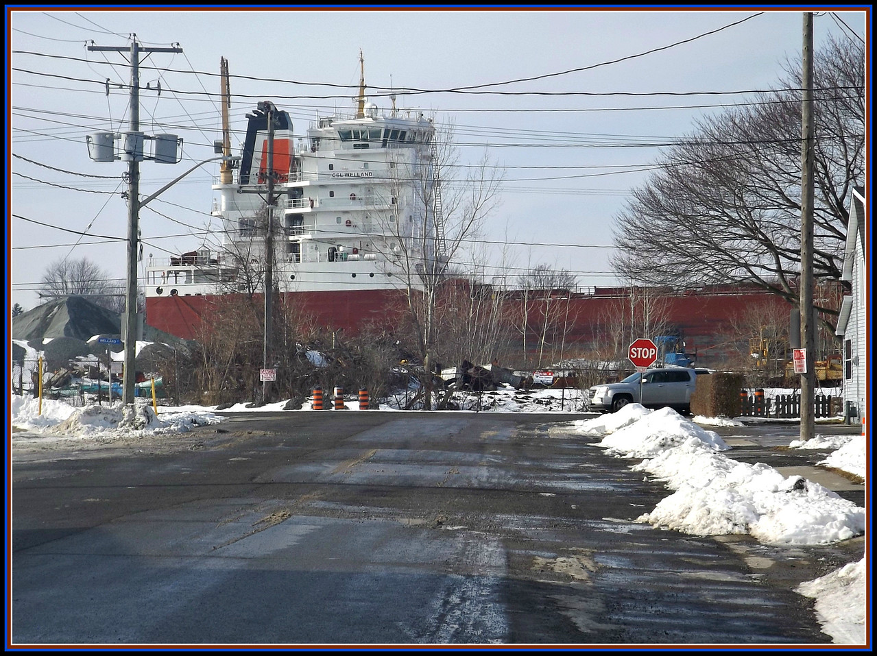 We drove to Port Colborne on the Welland Canal today. Beautiful sunshine. This is a Great Lakes freighter owned by paul martin shipping company! 2/2/2018