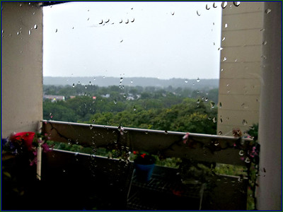 RAINED SO HARD   THE WIND BLEW THE DROPS ACROSS THE BALCONY,,, COOLER NOW ,,LESS MUGGY,,YAY!!!!7/25/18