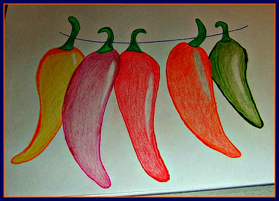 """new hobby till my knees improve. A card for my brother. HE LOVES HOT PEPPERS,,, Thought I would print """"chill"""" on it. Done with my pencil crayons.  18/01/17"""