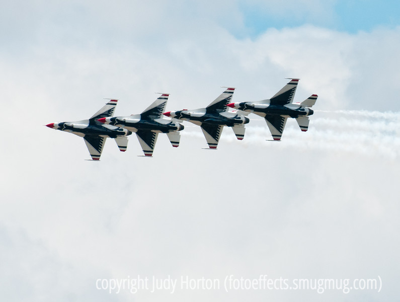 U.S. Air Force F-16 Thunderbirds during the flyover ceremony at the USAF Academy graduation.  I like this formation, which is a bit more uncommon in the performance.<br /> <br /> Thanks for the great response to my shot of the Thunderbird shooting across Pike's Peak.  Sure made me feel good!<br /> <br /> Have a great Friday!