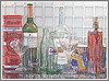 Day 36 - A still life composed of advertising tins, wine bottles, baccarat crystal, coke bottles and red peppers in vinegar; the image has been manipulated in Photoshop to create an image similar to a fine art silkscreen print that emphasizes the reflections.