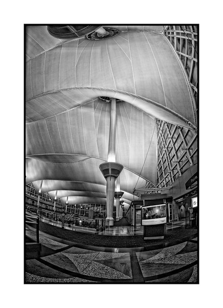 "Denver Airport Interior - late at night the week after Christmas.   A color version of this one is here:  <a href=""http://fotoeffects.smugmug.com/Other/Odds-and-Ends/7032233_9SbQx#759932515_bzLyK"">http://fotoeffects.smugmug.com/Other/Odds-and-Ends/7032233_9SbQx#759932515_bzLyK</a><br /> <br /> Thanks for the comments on my blue portrait of Quinn.  It is very encouraging when such good photographers like one of my shots.    <br /> <br /> Still very cold here in Colorado, but I think it is going to start warming up tomorrow."