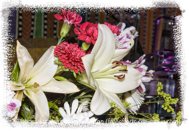 """Day 130 - A bouquet with lilies, chrysanthemums, statice and astroelomeria; this is another of the images taken last summer but just rediscovered in my files and processed.  It was very gratifying to see so many of you enjoying my """"radioactive squirrel.""""  Thanks for all your comments.  Hope you like this flower shot....have a great day today!"""