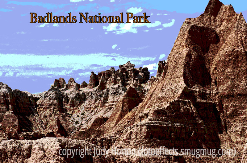 7/22/12 - Badlands National Park; best viewed in the largest sizes.  Another of the many posters I did for Badlands National Park, trying to do something like the posters in the visitor center.<br /> <br /> Thanks so much for the comments on my shot of the wolf cubs.  Also, thanks to a lot of folks who commented on various shots from some of my other galleries today.  Thanks for looking!