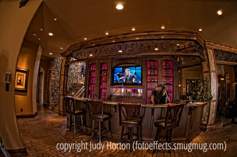 Parade of Homes - Bar in basement of one of the houses.  Best viewed in the largest sizes.  Once again, this was taken with the fisheye lens and the distortion is more pronounced in this shot.  I rather liked the colors and textures in this one.
