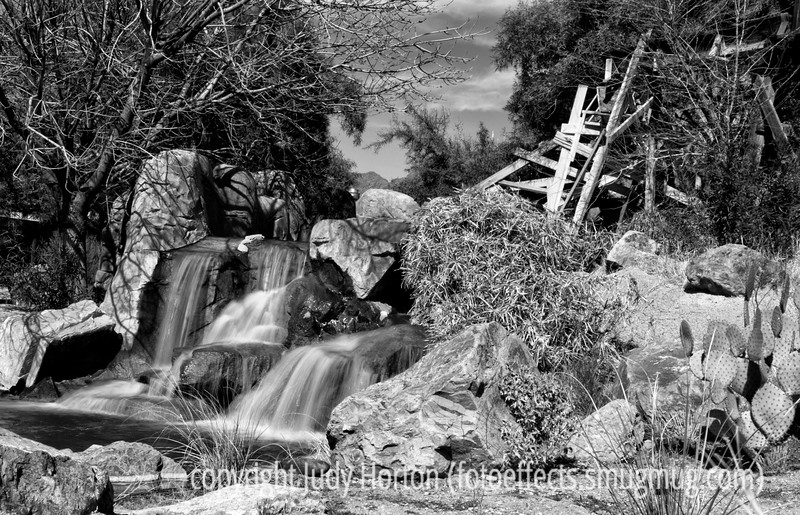 3/7/13 -  Waterfalls at Old Town Tucson.  This was taken in very bright sun.  I used my new 10-stop ND filter to cut down the glare on the water.  I think this is worth looking at in the larger sizes.<br /> <br /> Thanks for your comments on my shot of the fist fight in Old Town.  Much appreciated!