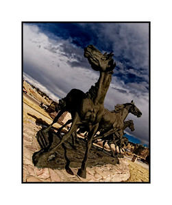 A different perspective on the statue of the horses.  Someone asked if the horses were meant to be wild horses and i believe they are.  It truly is a magnificent statue, one I pass almost daily.  Thanks for all the comments on the fireman climbing the ladder statue shot.  I really appreciate your input.  The week is nearly half over...hope yours is going well.   Amazing group of shots today and i loved perusing them!