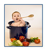 Hey, Mom, isn't this how YOU make soup?  Last week I had my first ever photoshoot with a baby.  Chyler is an adorable six-month-old girl and has to have one of the best dispositions ever.  I shot pictures of her for over an hour and she never fussed at all, except when her mom was changing her outfit for the second time.  This is one of the images from that shoot.  If you are interested, the rest are here:  http://fotoeffects.smugmug.com/gallery/8414425_vn5R3#P-1-12.  Thanks for all the nice comments on my hubby's picture today.  There were sure a lot of terrific shots on the dailies today.  We are going to a breakfast and preview of a show of the work of Fernando Botero, a Mexican artist, at the Colorado Springs Fine Arts Center.  Botero sculpts and paints and is known for his characterizations of rather rotund people.  We're looking forward to seeing the show.  Have a great day, everyone!