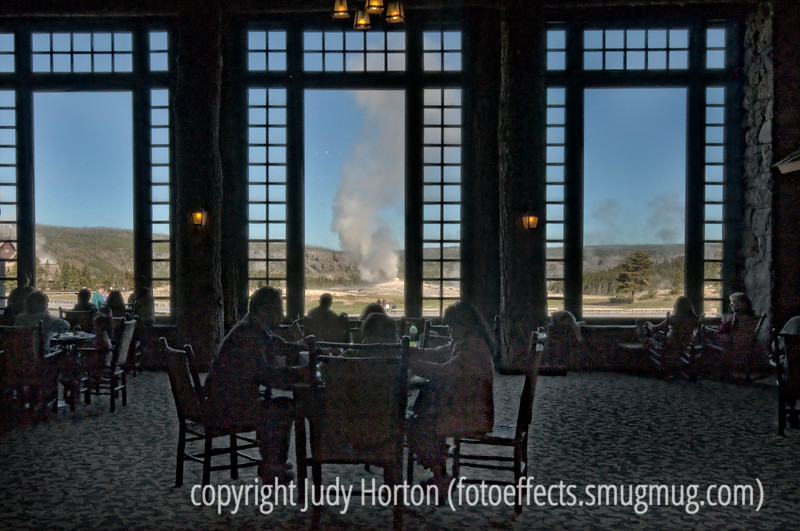 "In the lobby of the Yellowstone Lodge, looking out toward the Upper Geyser Basin<br /> <br /> I just looked at a groups of color photos taken in the early 1940s that I think a lot of you would enjoy seeing.  Check it out here:  <a href=""http://blogs.denverpost.com/captured/2010/07/26/captured-america-in-color-from-1939-1943/"">http://blogs.denverpost.com/captured/2010/07/26/captured-america-in-color-from-1939-1943/</a><br /> <br /> Your nice comments on my shot of the balloon festival really made my day.  Thanks so much.  Enjoy your day!"