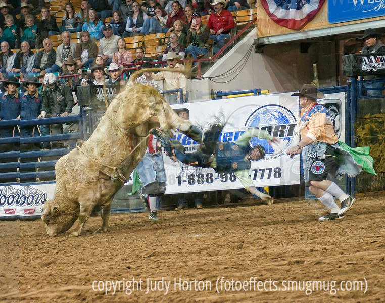 There were not a lot of falls at the rodeo the day we went.  This was one of the them.  The cowboy did not appear to be hurt, although he did seem a bit stiff....small wonder!  For the bull riding, the cowboys all wore face masks.  The second the cowboy was off the bull, the guy on the right would be trying to capture its attention.  This needs to be viewed in the largest sizes.<br /> <br /> Thanks so much for your warm response to my shot of the Clydesdales.  I also really appreciate the suggestions for future rodeo shots.  I still have a lot more of these shots to process but I am really enjoying this work.  Enjoy the weekend!