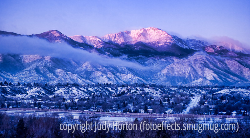 Pike's Peak as the first rays of light hit it just prior to sunrise - shot through the window at Penrose Hospital.<br /> <br /> Phil gets to go home today, so I'll probably have little time for commenting but will try to catch up in the evening.