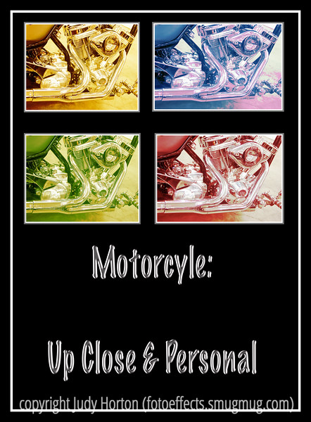 Day 28 - A composite image incorporating four versions of a close up of a motorcycle; each of the images has been manipulated in Photoshop to create an image that is similar to a fine art silkscreen print; this image is best viewed in a larger size.
