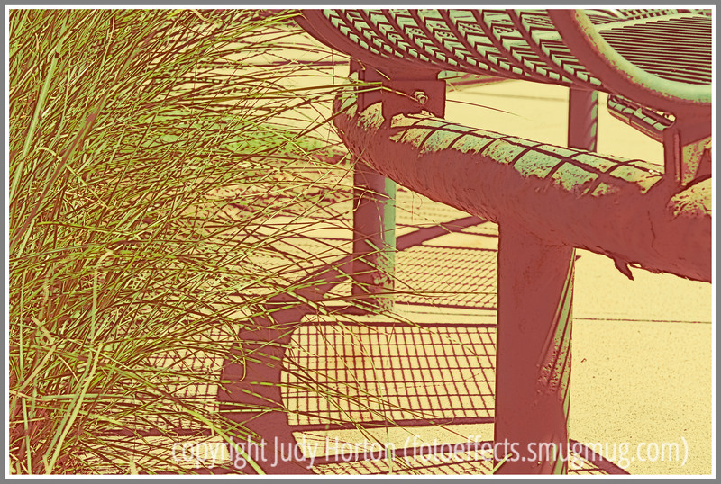 Day 19 - Grass, a bench and shadows; the photo has been manipulated in photoshop to make it look like a silkscreen art print