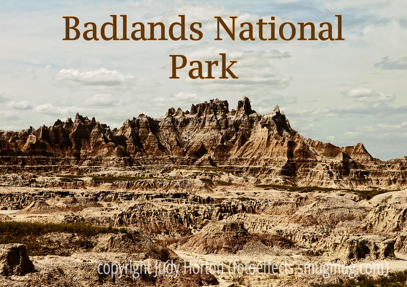 Badlands National Park; best viewed in the largest sizes.  The national park visitor centers always have wonderful park posters, generally along the lines of a silkscreen fine art print.  I decided I wanted to try to do some of these for Badlands.  Here is one!<br /> <br /> Thanks so much for your warm response to my shot of the hot bear on the log.  You guys certainly make me feel great!