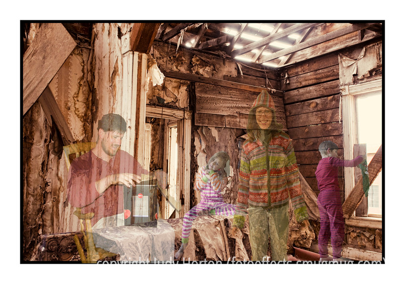 """Day 129 - Happier Days - I have taken one of the shots of the interior of the tumbledown, abandoned house and have added a number of """"ghosts"""" from a happier Christmas past.  I took four separate shots taken a couple of years ago, cut them out and added them to the tumbledown room.  It was fun to do. The """"dad's"""" gift is really too up-to-date, as is the """"mom's"""" outfit, but that was what I had to work with.  I may try to actually shoot some new ghosts in the future that are more appropriate, but, for now, it was a fun effort.  Hope you like it!<br /> Thanks for all the comments on my foggy, hoarfrosted tree...it was wonderful to have so many of you say such nice things about it.  I probably won't get a chance to comment on your shots for today until late in the day, as my hubby is having a diagnostic scoping procedure.  Hope everyone has a grand day!  It was really windy here today and is expected to be pretty windy tomorrow, as well.<br /> <br /> I just received the following link via e-mail.  It is a photographic review of American in the 1930s, with some extra info on Kodachrome film.  It has a lot of great photos and you all may be interested in viewing it.  <a href=""""http://www.openmyeyeslord.net/ALookBackInHistory.htm"""">http://www.openmyeyeslord.net/ALookBackInHistory.htm</a>"""