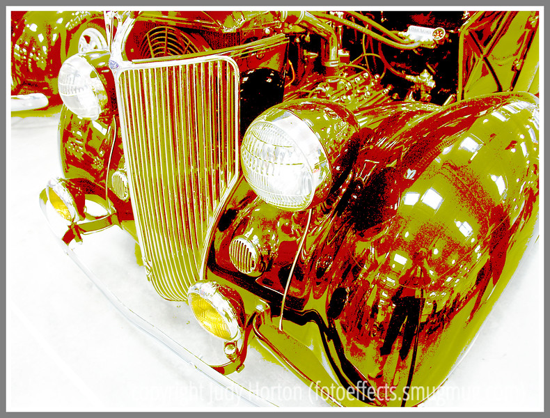 Day 29 - This image of a 1936 Ford Cabriolet has been manipulated in Photoshop to create an image that is similar to fine art silkscreen print.