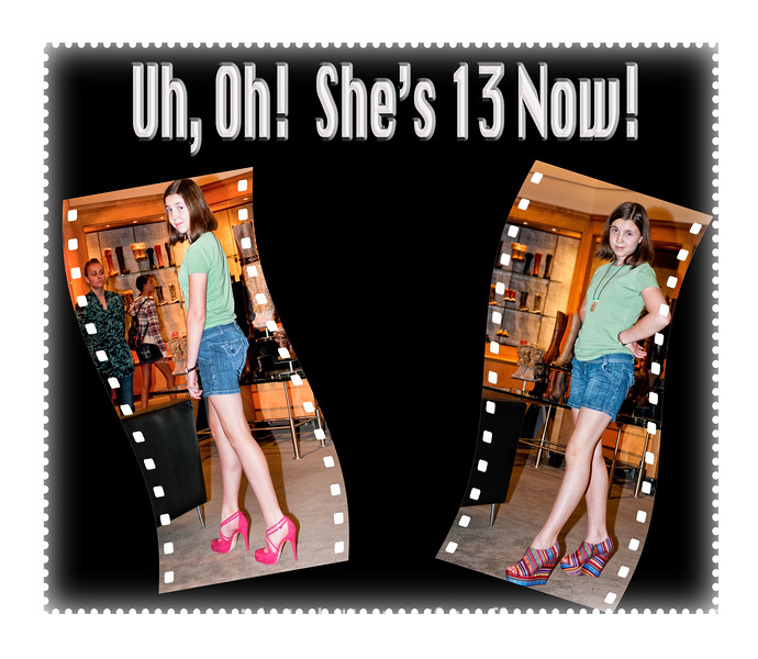 On our outing yesterday to allow my granddaughter, Quinn, to pick out some clothes for her birthday, she and my daughter decided to try on some outlandish shoes at Nordstrom's to end the day.  Surprisingly, the shoes looked much better on than we'd thought they would.  I took the photos just to give her dad fits, but decided they do kind of make a statement about how she's growing up.<br /> <br /> Thanks so much for the nice comments on my shot of the anhinga.  They are incredibly beautiful birds and a bit odd-looking at the same time.  Hope your week is off to a good start!  Have a great day!
