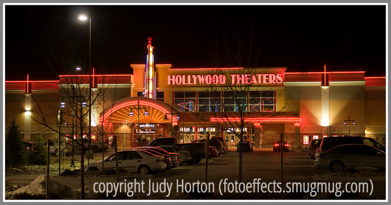 Day 38 - A Hollywood Theater at night.  I liked all their neon and the softly lit parking lot.