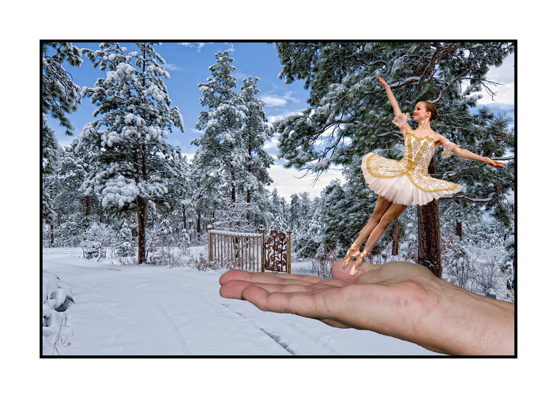 Winter fantasy ... I had a good time creating this shot from three different images.  The snow scene shows a view looking down our driveway and was taken last winter.  The hand is my hubby's and the ballet dancer is Megan.  Hope you like it!<br /> <br /> Wow!  You all made my shot of the lady on the bench at the botanic gardens number one yesterday!  I'm really humbled.  It certainly made my day!  Thanks so much!    Have a great day!