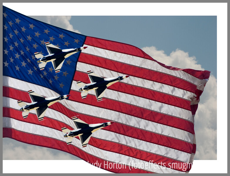 Day 34 - The Air Force Thunderbirds flying in formation during an Air Force Academy Graduation flyover; I have added the flag and clouds to the image.