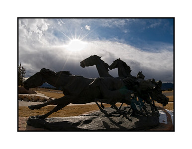 Larger than lifesize sculpture of horses near the Briargate Shopping Center in Colorado Spring; shot lying on the ground looking up with a fish eye lens.  Thanks for all the comments on the shot at the skateboarding park.  It was a busy day and I didn't get around to commenting until late at night, but, as usual, there was lots to inspire and admire.  Hope your week gets off to a great start!